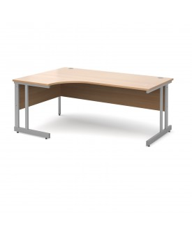 Next Day Delivery Momento left hand ergonomic desk 1800mm - silver cantilever frame- available in 5 colours