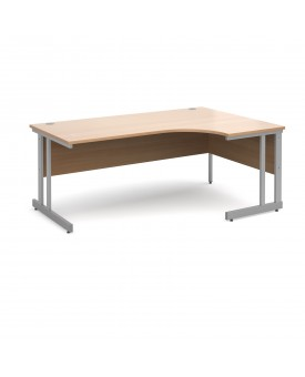 Next Day Delivery Momento right hand ergonomic desk 1800mm - silver cantilever frame- available in 5 colours