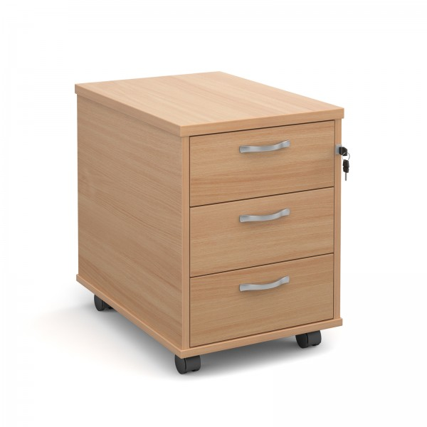 Next Day Delivery- Mobile 3 drawer pedestal with silver handles 600mm deep- Available in 5 colours
