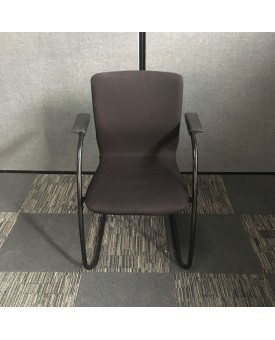 Black static chair with black frame