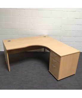 Beech right handed corner desk1600 x 1200 (Pedestal not included)