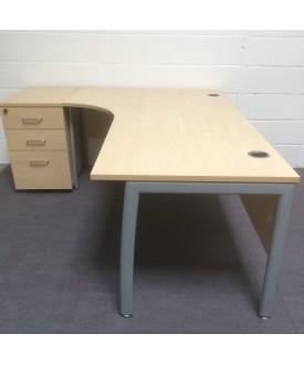 Maple left handed corner desk set with desk high pedestal- 1800 x 1200