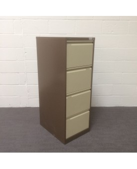 Brown and cream Bisley filing cabinet- 4 drawer