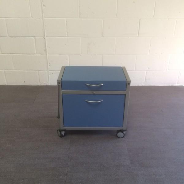 Blue mobile pedestal