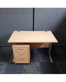 Oak straight desk 1200 x 800 (pedestal not included)